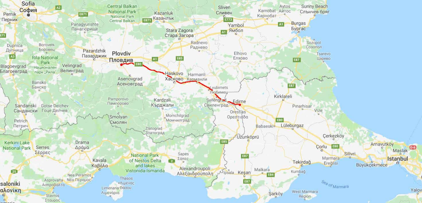Getting from Plovdiv to Edirne. Map