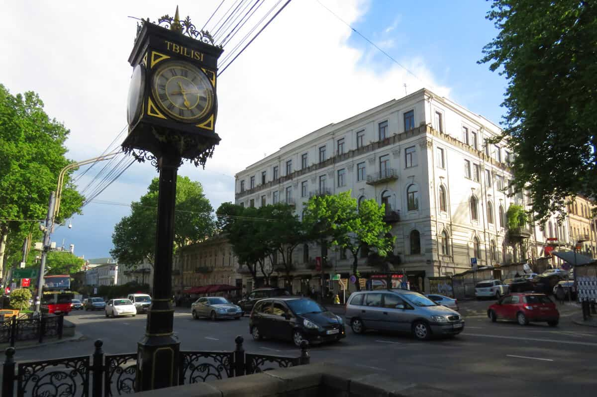 clock on Rustaveli Avenue, Tbilisi