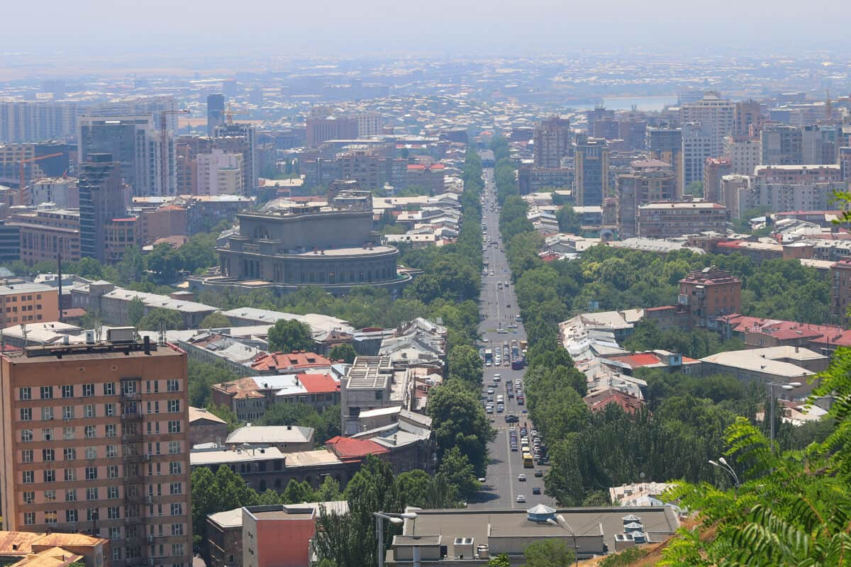 downtown Yerevan from Mother Armenia monument