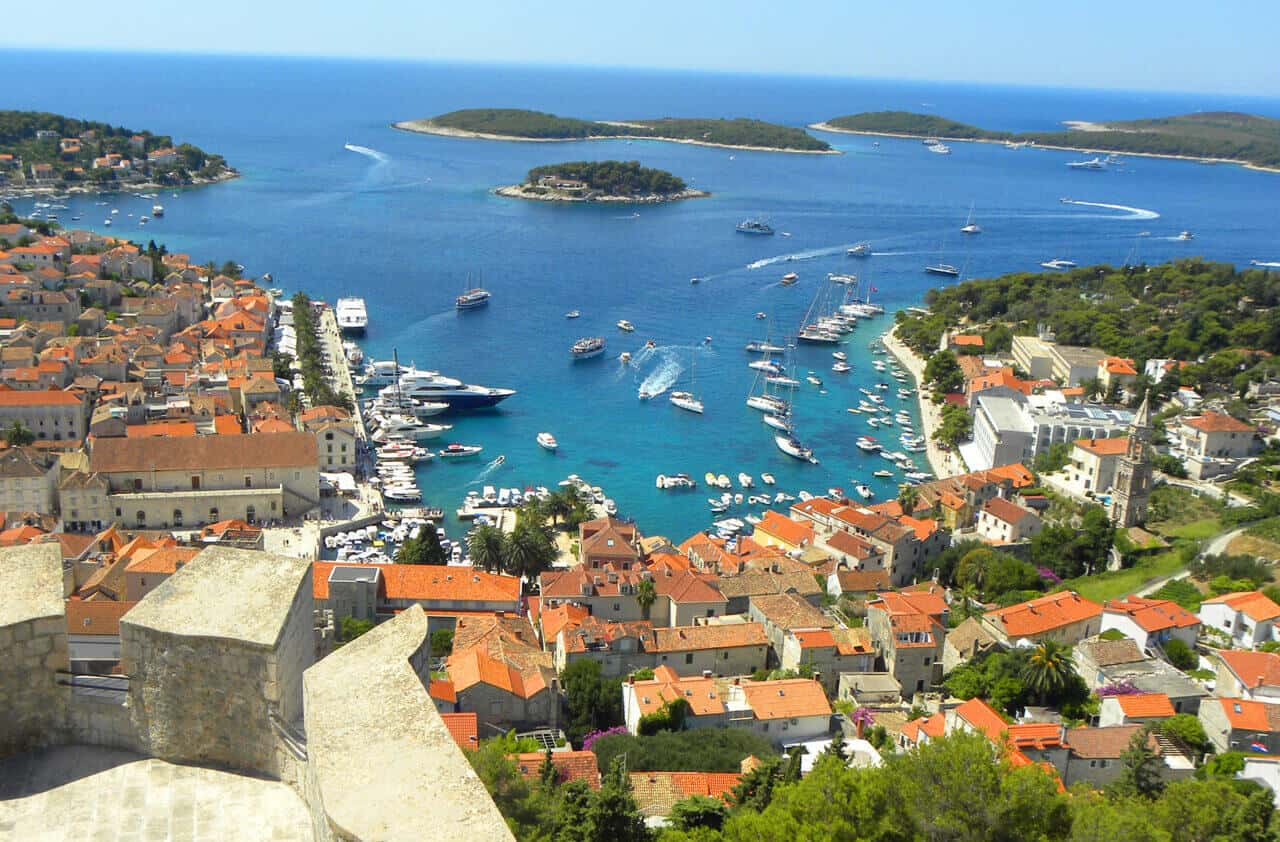 Views of Hvar Town from the fortress. Croatia