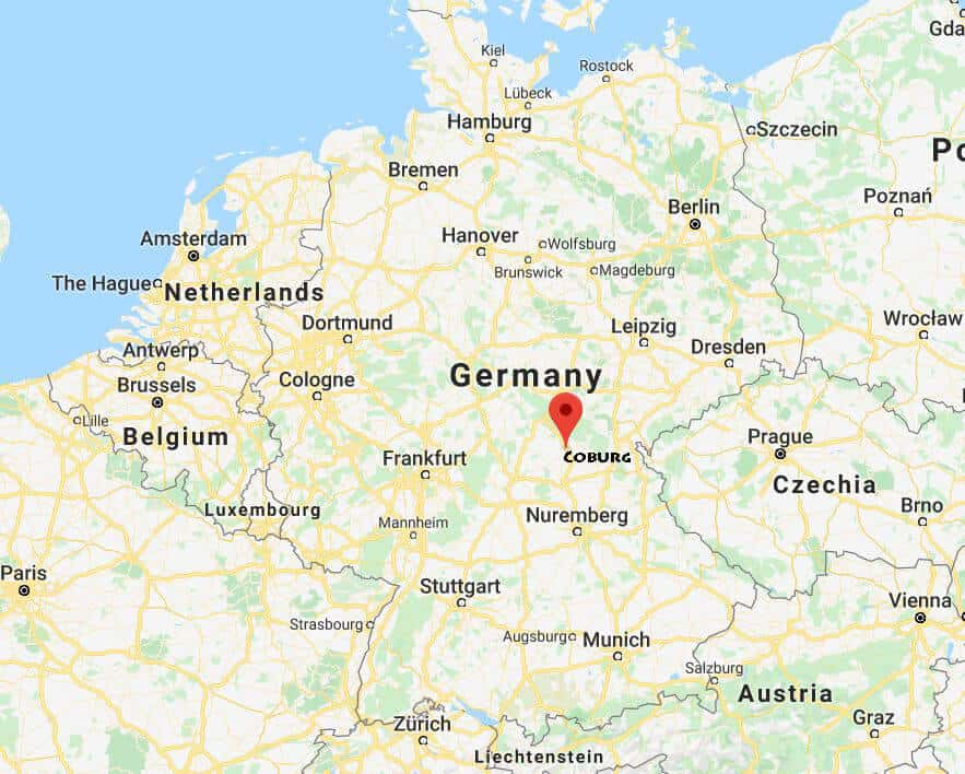 Coburg Germany on the map