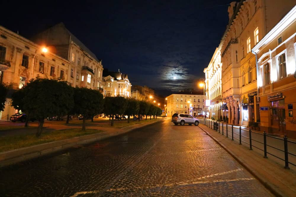 Shevchenko Avenue at night, Lviv