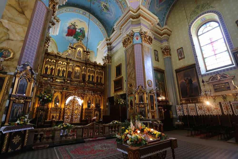 Inside the beautiful Transfiguration church, Lviv