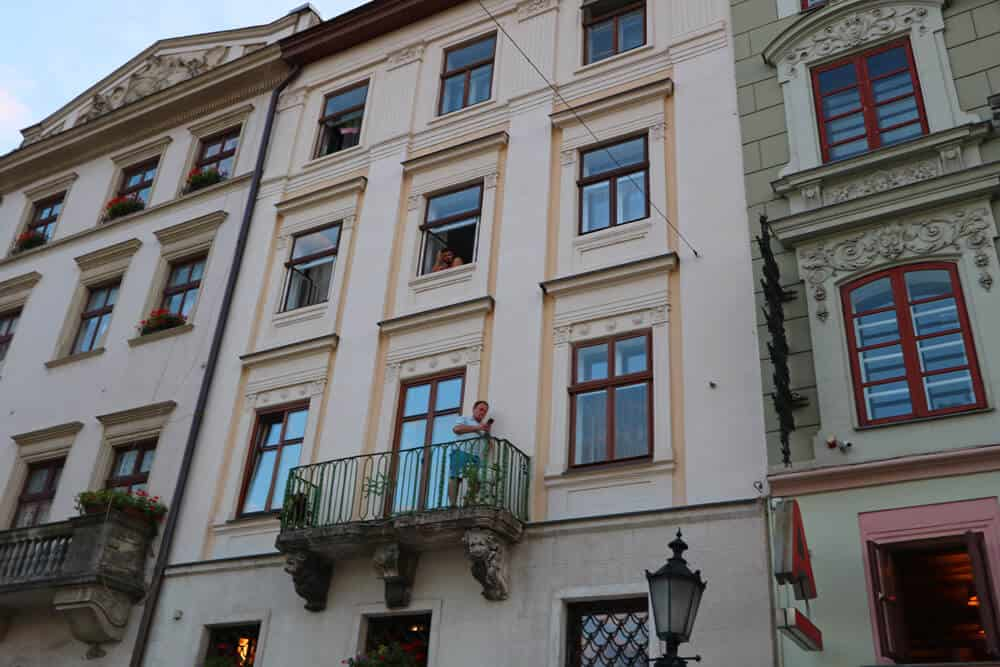 windows and balconies on the Rynok, Lviv