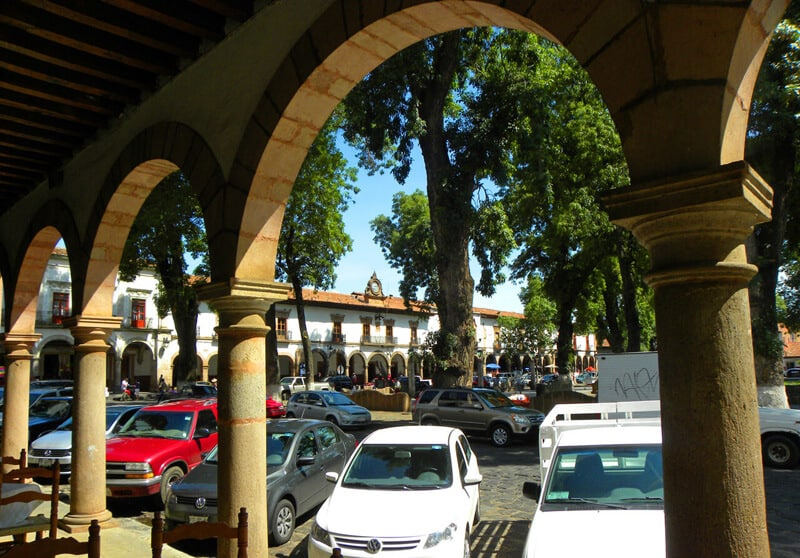 main square in Patzcuaro. A roadtrip through Mexico's most beautiful towns and cities