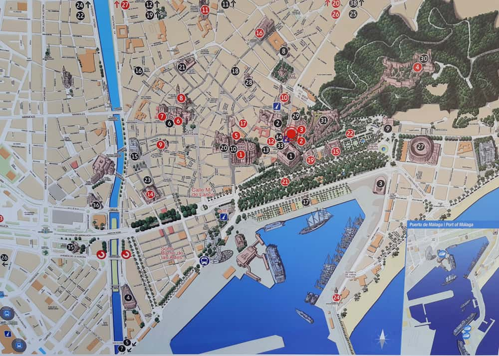 Map of Malaga's center