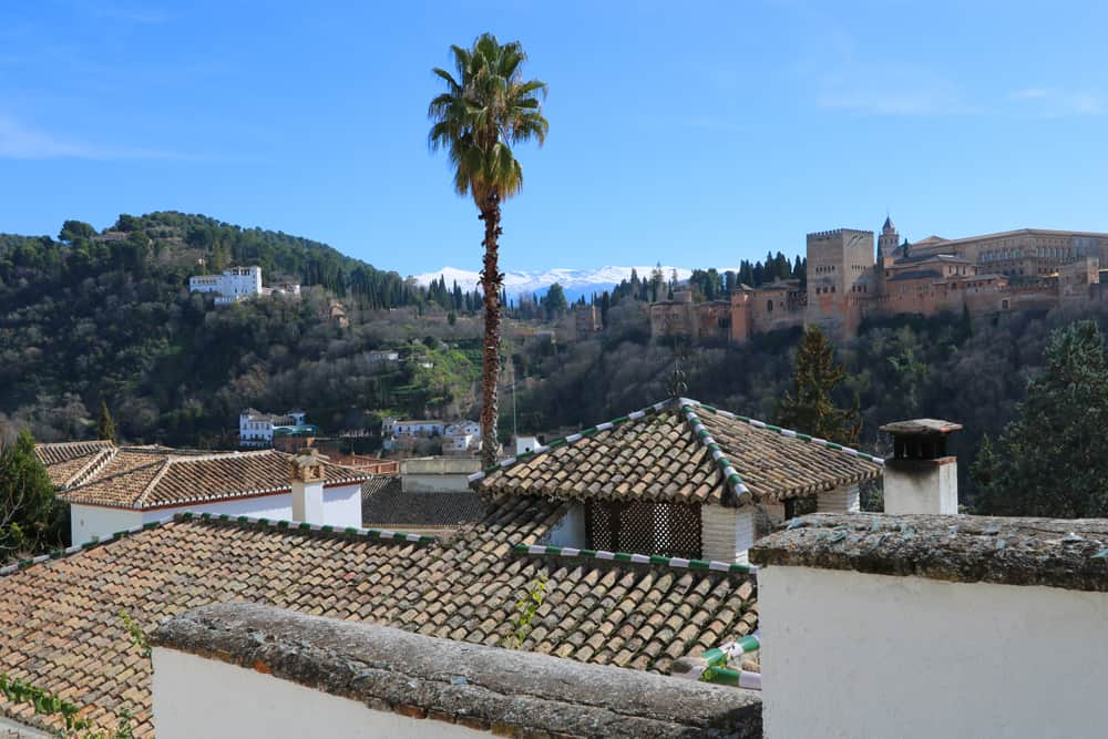 Views of the Alhambra and Sierra Nevada in Granada, Spain