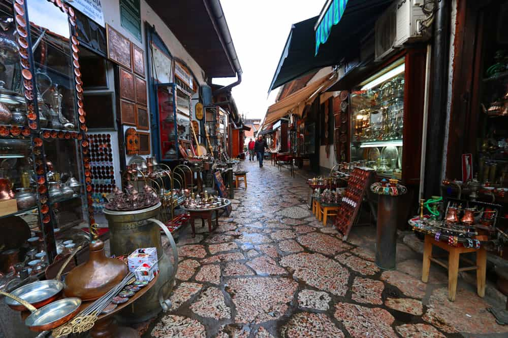 Kazandžiluk street, also called Coppersmiths' Alley. Sarajevo Guide