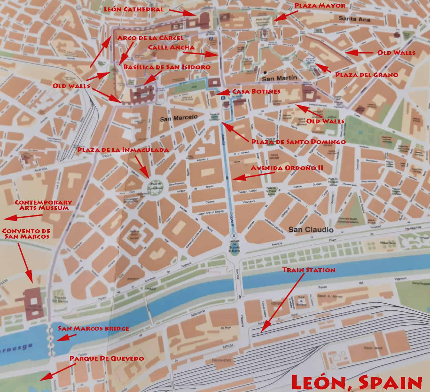 Map of Leon, Spain