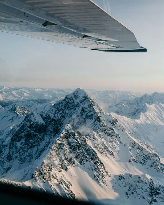The mountains of Alaska from the air