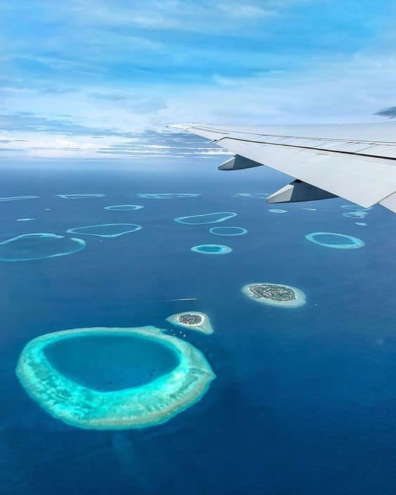 Flying over the islands of the Maldives